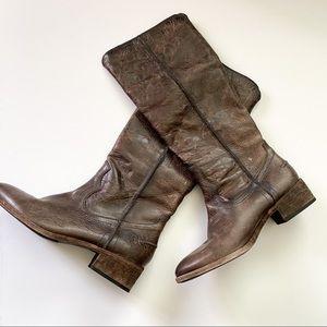 Frye distressed boots dark brown
